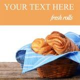 Fresh rolls isolated on white background Royalty Free Stock Images