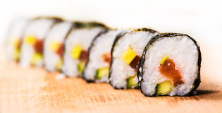 Fresh rolls with salmon close-up Royalty Free Stock Image