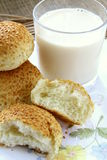 Fresh rolls with sesame seeds and a glass of milk Stock Image