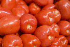 Fresh Roma Tomatos. At farmer's market Stock Image