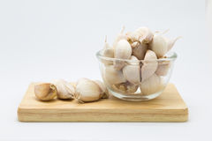 Fresh rood garlic on wooden board Royalty Free Stock Photo