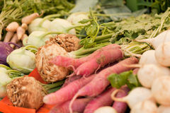Fresh root vegetable carrot potatoes onion beet on market Stock Photo
