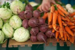 Fresh root vegetables at the weekly market. Can be used as background Stock Image