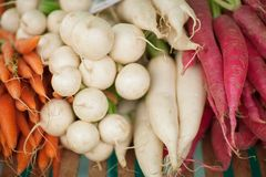Fresh root vegetables at the weekly market. Can be used as background Royalty Free Stock Photo