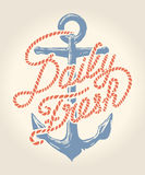 Daily fresh rope text over anchor illustration Royalty Free Stock Photos