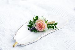 Fresh rose flower event decoration. wedding details.  royalty free stock image