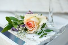 Fresh rose flower event decoration. wedding details.  royalty free stock photography
