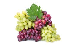 Fresh rose and green grapes with leaf Royalty Free Stock Photography