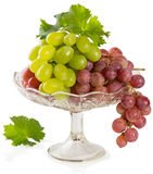 Fresh rose and green grapes with leaf Stock Photography