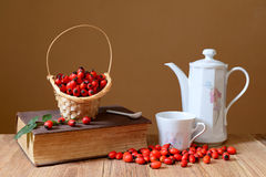 Fresh rose hips and teapot Royalty Free Stock Image