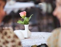 Fresh rose in white vase Royalty Free Stock Images