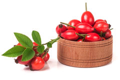 Fresh rosehip berries in a wooden bowl isolated on white background Stock Image