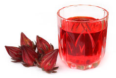 Fresh roselle with juice Stock Images