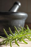 Fresh Rosemary. Grey stone mortar and rosemary on a kitchen table Stock Photos