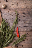 Fresh rosemary herbs. Red hot chili pepper. Egg with black pepper. Many spices on a rustic background. Mexican cuisine. Royalty Free Stock Image