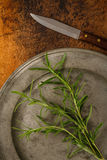 Fresh Rosemary On A Pewter Plate Stock Photography