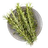 Fresh Rosemary on Stone Plate Top View Isolated on White stock images