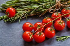 Fresh rosemary and tomatoes. On black background Stock Photography