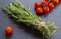 Fresh rosemary and tomatoes. On black background Royalty Free Stock Image