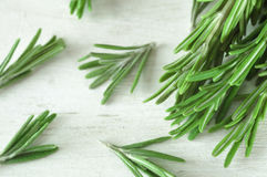 Fresh rosemary twigs on wooden background Royalty Free Stock Photo