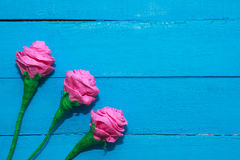 Fresh roses flowers in ray of light on turquoise painted wooden background. Selective focus. Place for text. Fresh roses flowers in ray of light on turquoise Royalty Free Stock Photo