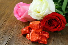 Fresh roses and gifts for Valentines Day Stock Photo