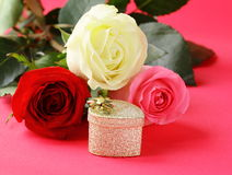 Fresh roses and gifts for Valentines Day Royalty Free Stock Images