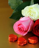 Fresh roses and gifts for Valentines Day Royalty Free Stock Photo