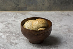 Fresh round bread with sesame and poppy seeds Royalty Free Stock Image