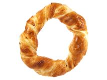 Fresh round pretzel. Isolated on white background stock photos