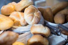 Fresh round scones at bakery display Stock Photo