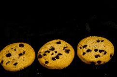Fresh round sweet chocolate chip cookie`s in the dark. A cookie is a baked or cooked food that is small, flat and sweet. It usually contains flour, sugar and Stock Photos