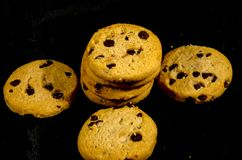 Fresh round sweet chocolate chip cookie`s  in the  dark. A cookie is a baked or cooked food that is small, flat and sweet. It usually contains flour, sugar and Stock Images