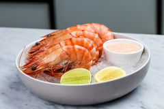 Fresh royal prawns with lemon and sauce. Served with the crushed ice Royalty Free Stock Photo