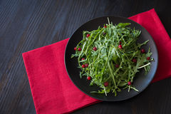 Fresh rucola leaves with red berries on black plate Royalty Free Stock Images