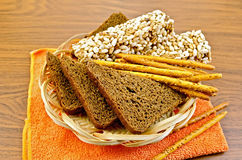 Rye bread and crispbreads on napkin Stock Photos