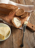 Fresh rye bread and butter Royalty Free Stock Images