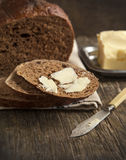 Fresh rye bread and butter Royalty Free Stock Image