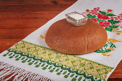 Fresh rye bread. On old wooden table Royalty Free Stock Photography