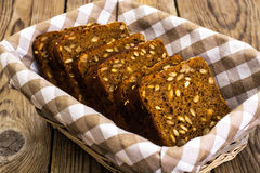 Fresh rye bread with seeds of sunflower square shape Stock Photography