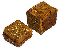 Fresh rye bread with seeds of sunflower square shape Stock Photos