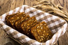 Fresh rye bread with seeds of sunflower square shape Royalty Free Stock Images