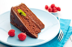 Fresh sacher cake Royalty Free Stock Images