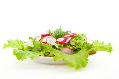 Fresh salad. Of lettuce and radishes in a dish on a white background Stock Photo
