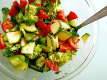 Fresh salad. Close up fresh salad with broccoli Royalty Free Stock Images