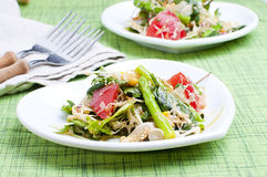 Fresh salad. Salad with green leaves, asparagus and tomatoes Stock Image