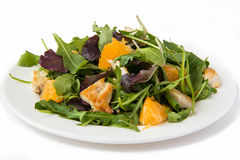 Fresh salad. Salad with lettuce, chicken and tangerines Stock Images