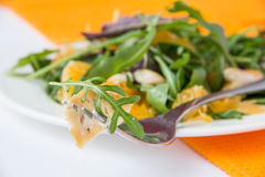 Fresh salad. Salad with lettuce, chicken and tangerines Stock Photo