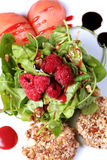 Fresh salad. Berries rokas musli royalty free stock photography