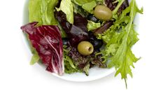 Fresh Salad. A fresh olive salad. Background fades to white so can be extended if needed Stock Photo